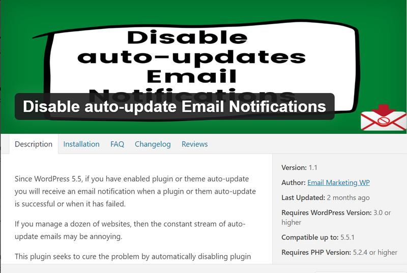 Wordpress как отключить email уведомления об автоматическом обновлении плагинов